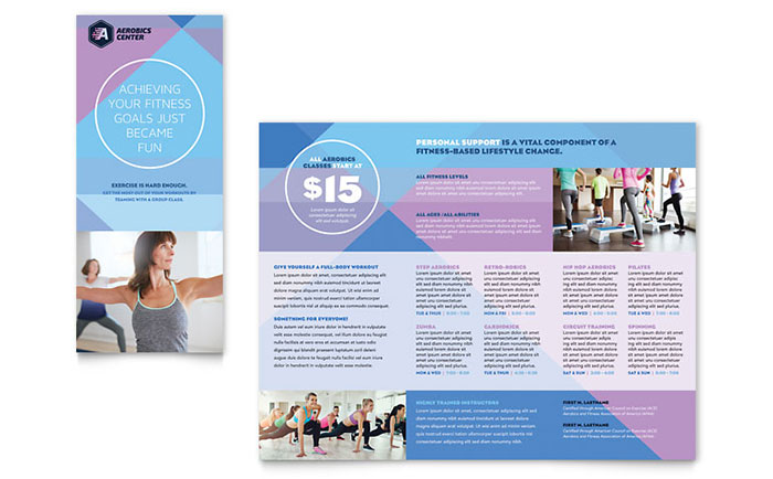 Aerobics Center Brochure Template Design - Fitness Brochure Template