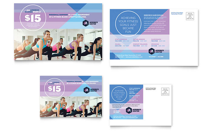 Aerobics Center Postcard Template Design - free microsoft word postcard template