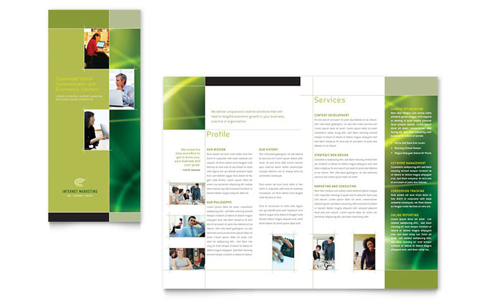 Internet Marketing Tri Fold Brochure Template Design - marketing brochure