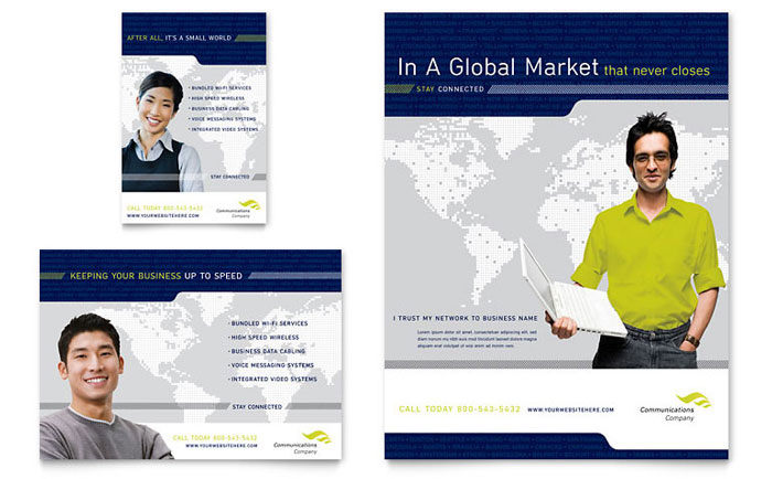 Global Communications Company Flyer  Ad Template Design