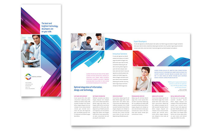 Software Solutions Tri Fold Brochure Template Design