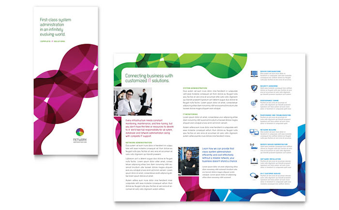 Network Administration Tri Fold Brochure Template Design