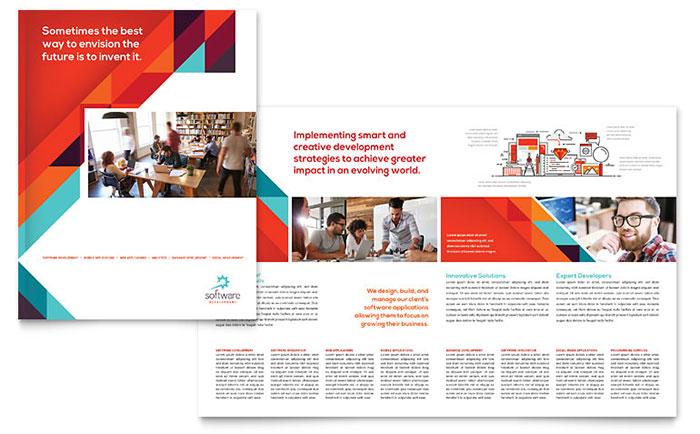 Application Software Developer Brochure Template Design - sales brochure template