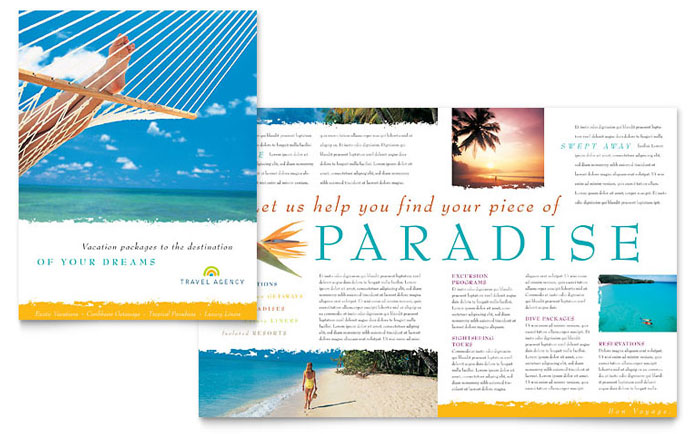 Travel Agency Brochure Template Design - Vacation Brochure Template