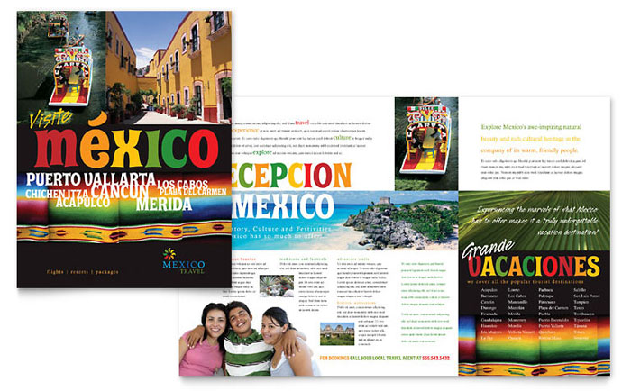 Mexico Travel Brochure Template Design - Vacation Brochure Template