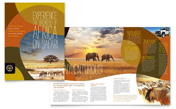 African Safari Brochure Template Design - tourist brochure template