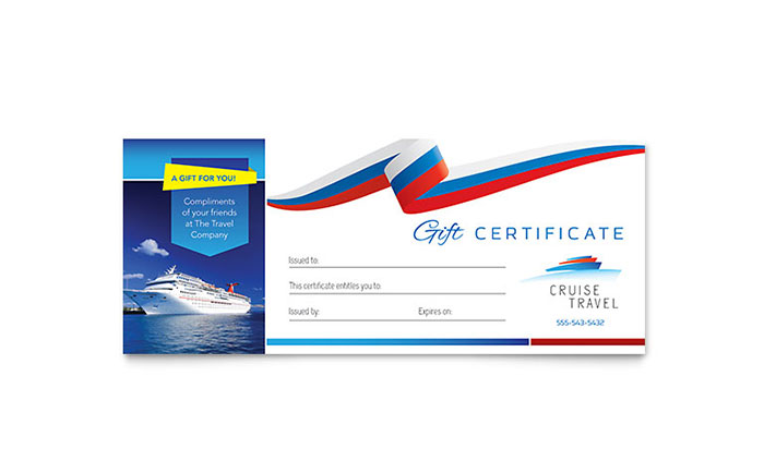 Cruise Travel Gift Certificate Template Design - gift voucher template
