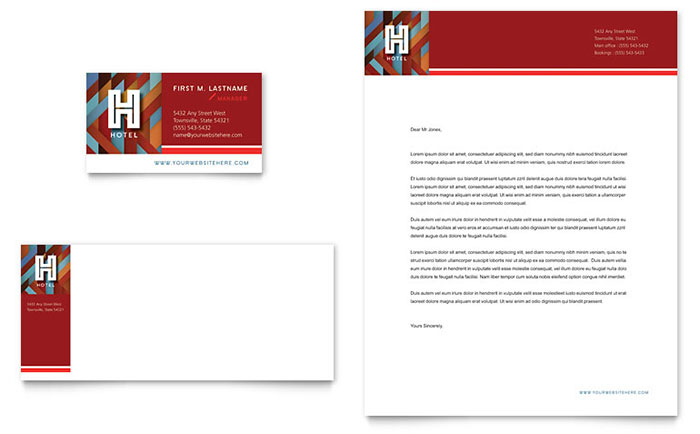 Create A Letterhead Template In Microsoft Word Hotel Business Card And Letterhead Template Design
