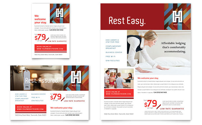 Hotel Flyer  Ad Template Design - hotel brochure template