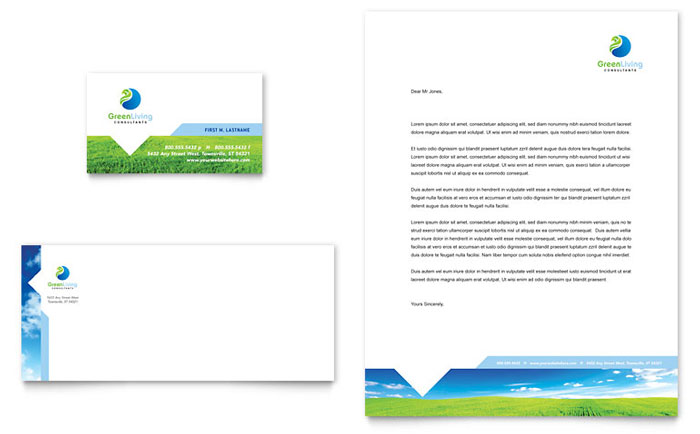 Green Living  Recycling Business Card  Letterhead Template Design - business letterhead template free