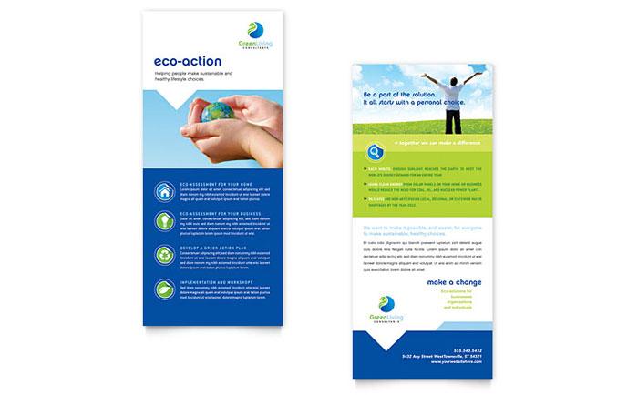 Green Living  Recycling Rack Card Template Design