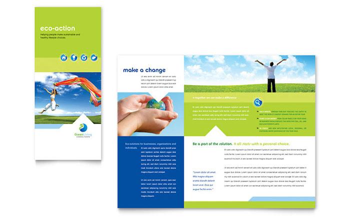 Green Living  Recycling Tri Fold Brochure Template Design