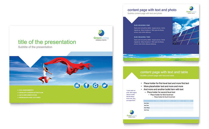Green Living  Recycling PowerPoint Presentation Template Design - recycling powerpoint templates