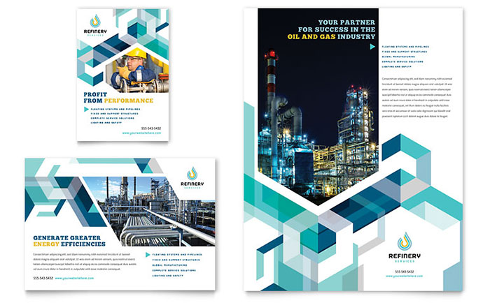 Oil  Gas Company Flyer  Ad Template Design