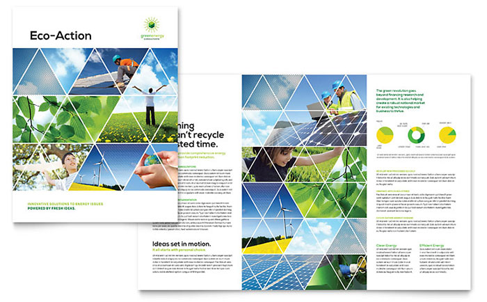 Green Energy Consultant Brochure Template Design - Free Pamphlet Templates Microsoft Word