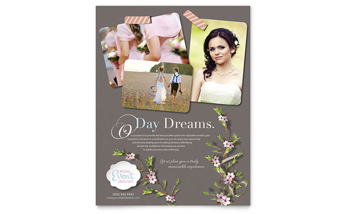 Wedding Planner Flyer Template Design - wedding flyer