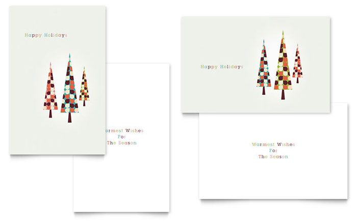 Modern Holiday Trees Greeting Card Template Design