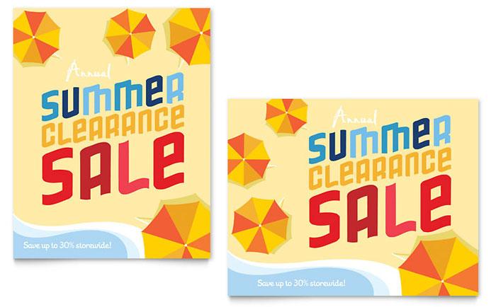 Summer Beach Sale Poster Template Design