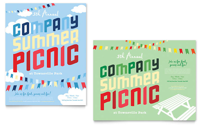 Company Summer Picnic Poster Template Design - picnic flyer template
