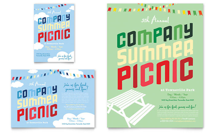 Company Summer Picnic Flyer  Ad Template Design - picnic flyer template