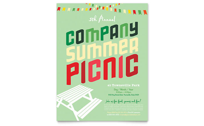 Company Summer Picnic Flyer Template Design