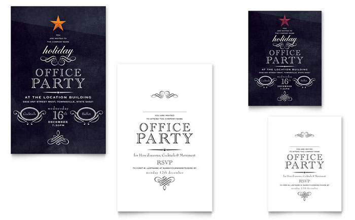 Office Holiday Party Note Card Template Design - company party invitation templates