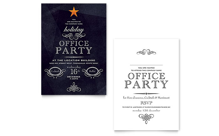 Office Holiday Party Invitation Template Design - company party invitation templates