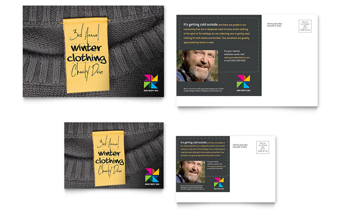 Winter Clothing Drive Postcard Template Design - clothing drive flyer template
