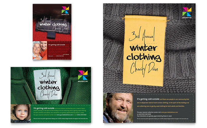 Winter Clothing Drive Flyer  Ad Template Design - clothing drive flyer template
