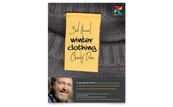 Winter Clothing Drive Flyer Template Design - clothing drive flyer template