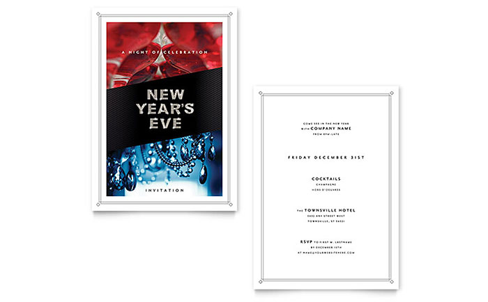 New Year\u0027s Eve Invitation Template Design
