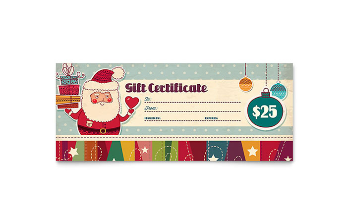 Retro Santa Gift Certificate Template Design - Christmas Certificates Templates For Word