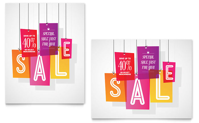 Clearance Tag Sale Poster Template Design - for sale poster template