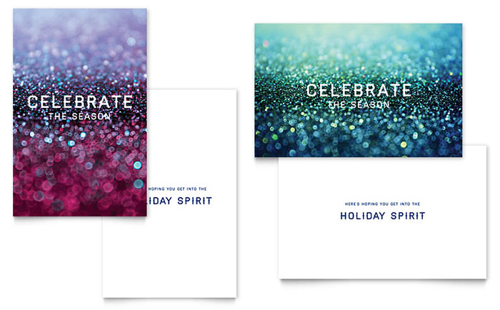 Glittering Celebration Greeting Card Template Design - birthday card format for word