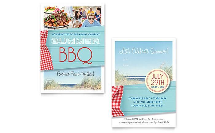 Summer BBQ Invitation Template Design - bbq invitation template