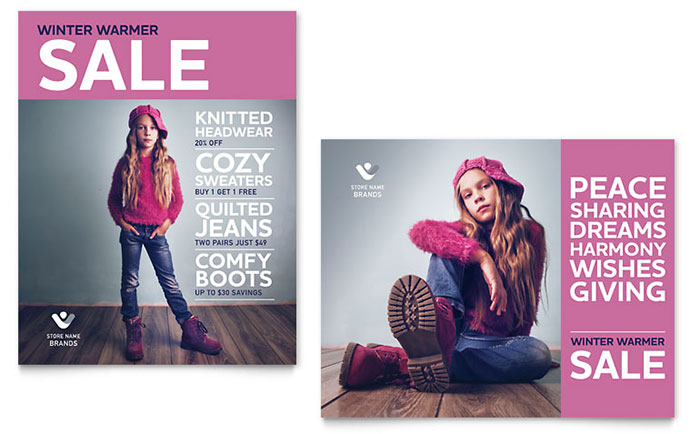 Kids Clothing Sale Poster Template Design