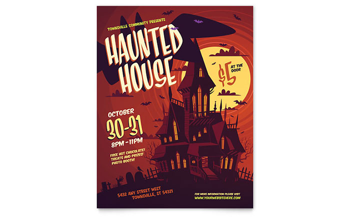 Haunted House Flyer Template Design - examples of a flyer