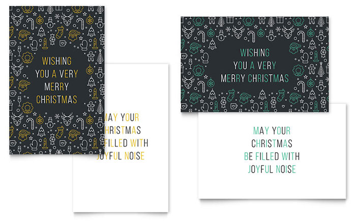 Christmas Wishes Greeting Card Template Design - christmas card word