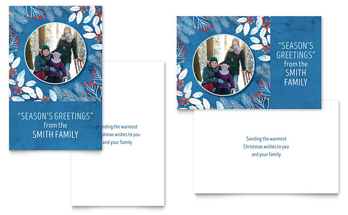 Family Portrait Greeting Card Template Design - christmas card word template