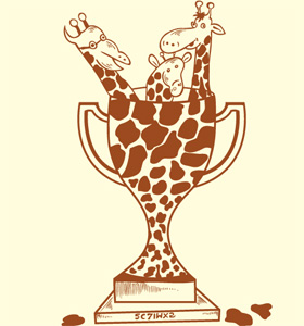 Cartoon Giraffe Trophy T-shirt Design Vector