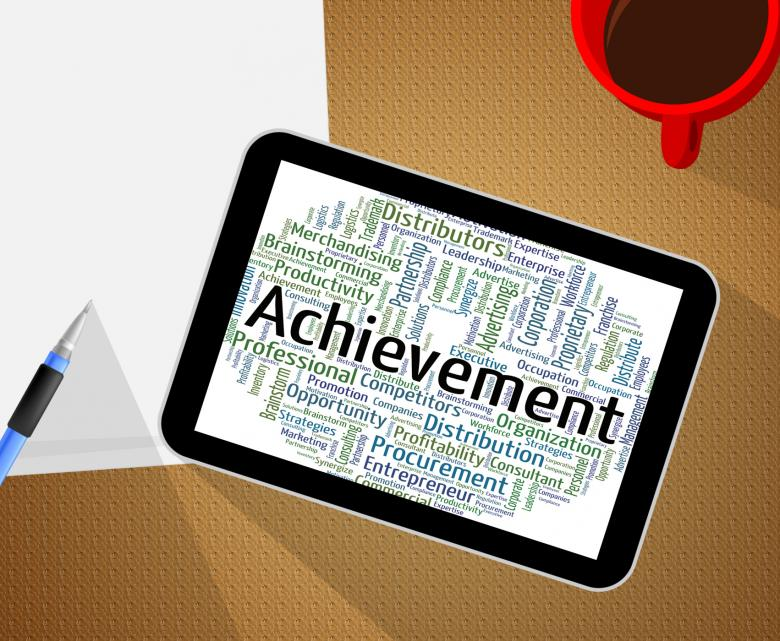 Achievement Word Means Words Achieving And Attainment - Free Stock - words for achievement