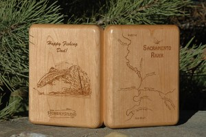 Personalized Sacramento River Map Fly Box for Dad