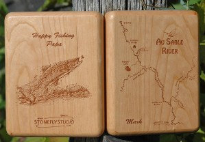 Au Sable River Map Fly Box - Happy Fishing Papa