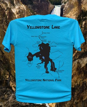 Yellowstone Lake River Map T-Shirt - YNP