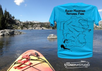 Catch The Spirit Of The Water - Rocky Mountain National Park River Map T-Shirt
