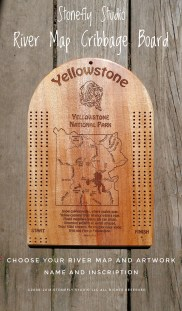 Stonefly Studio River Map Cribbage Board - YNP