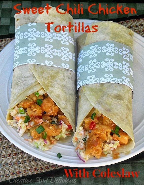 Sweet Chili Chicken Tortillas with Coleslaw #SweetChiliChicken #ChickenRecipes #FilledTortillas