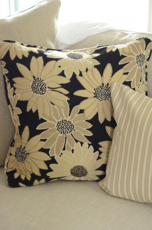 floral and pillow ticking pillow close up