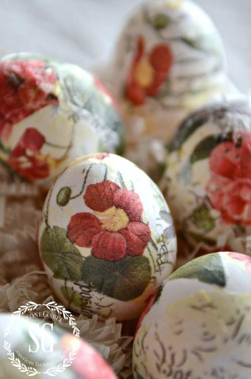 TORN TISSUE EGGS-eggs in egg crates-stonegableblog.com