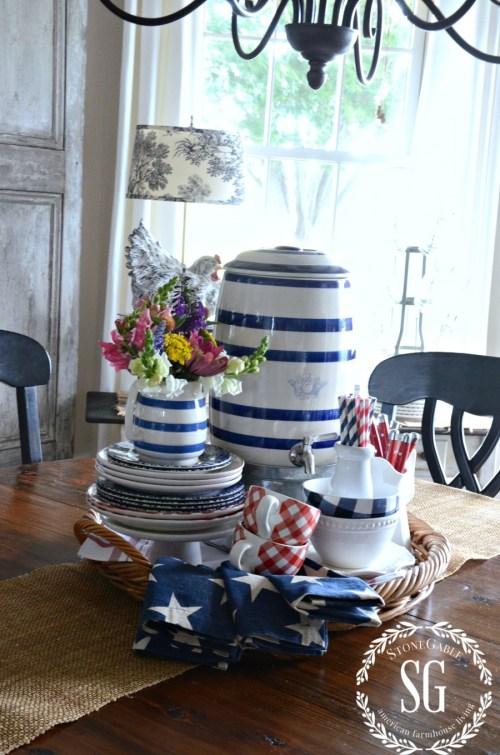 SUMMER HOME TOUR-breakfast room-dishes-vignette-stonegableblog.com